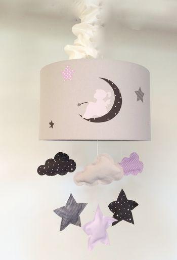 Abat Jour Suspension lumineuse nuage étoiles lune