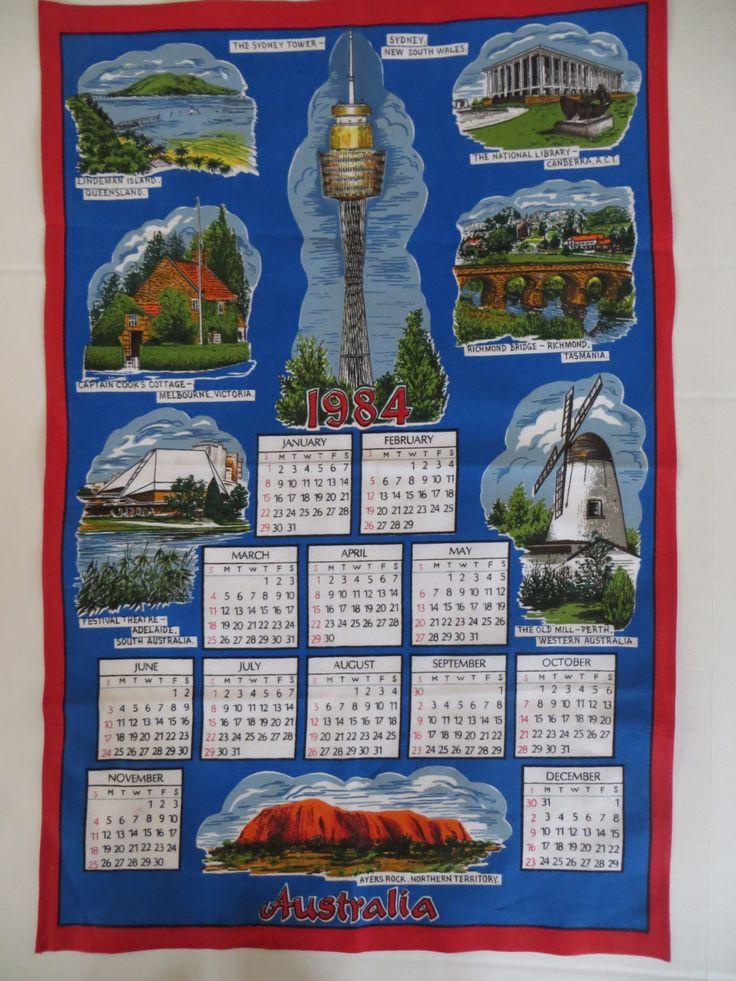 Vintage Towel, 1984 Calendar, Australia Souvenir, Kitchen Towel, Tea Towel,  Australia Towel, Blue and Red, Screenprinted Cotton, Unused by CatBazaar on Etsy