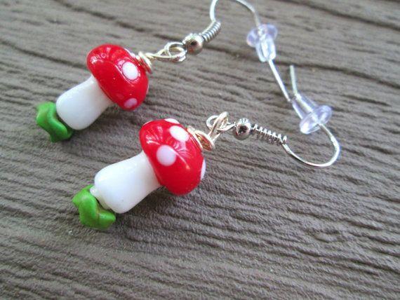 Red Mushroom Earrings, Mario Inspired, Woodland Toadstool Jewelry, Hippie Fashion, Bohemian Style, Lampwork, Nickel Free #mushroom #toadstool #mario #shroom #earrings #jewelry #woodland #bohemian #hippie $9.00