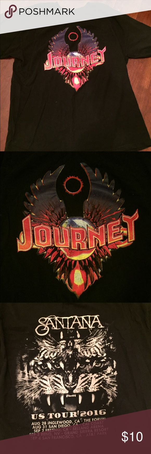 Journey/ Santana Tour T-Shirt This is a 2016 tour Tshirt from the Journey and Santana show at AT&T park last summer. It could be a great shirt to cut up and make into a tank top or a fringe top for Coachella! Tops Tees - Short Sleeve
