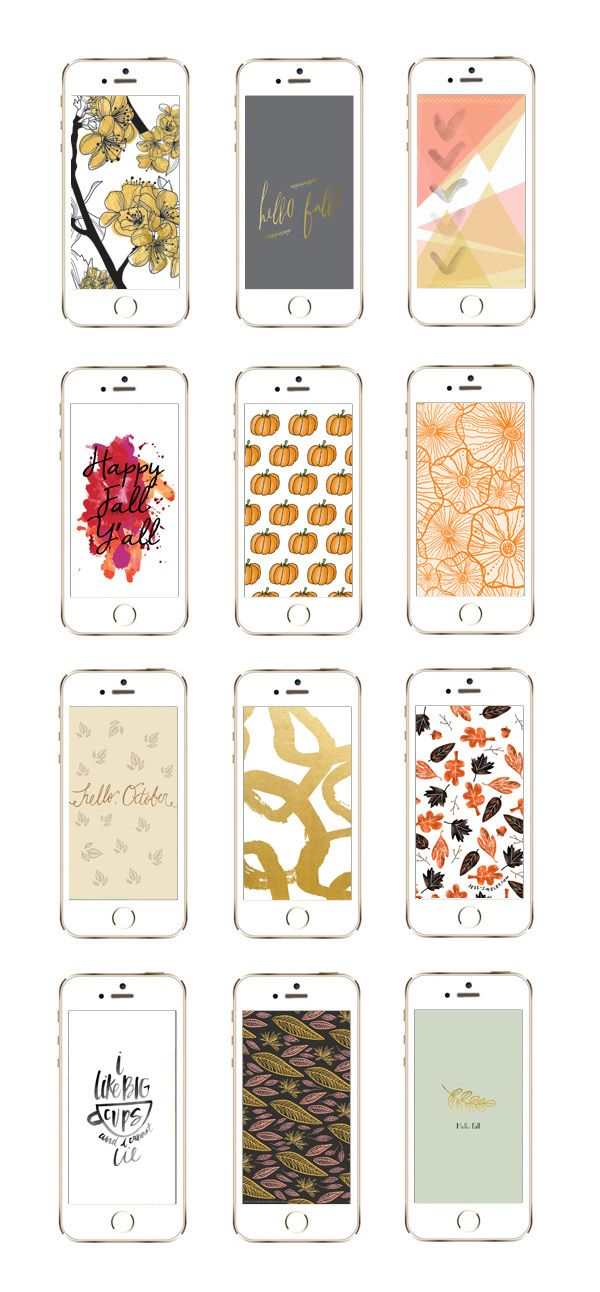 FREEBIE // 12 Awesome iPhone Wallpaper Designs for Fall | Gold flowers | Hello Fall | Abstract | Happy Fall Y'all | Pumpkins | Orange Flowers | Hello October | Gold Swirls | Falling Leaves | I Like Big Cups | Leaves on Black | Hello Fall | Phone Wallpapers | Free Downloads