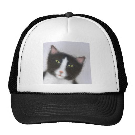 Hat with a tuxedo cat http://www.zazzle.co.nz/products_with_tuxedo_cat_images_trucker_hat-148661568485148676