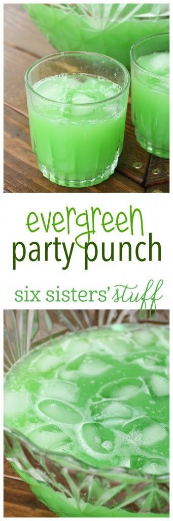 Evergreen Party Punch on SixSistersStuff.com | A party isn't complete without a drink! This bright green punch is perfect for feeding a crowd and can be thrown together in a matter of minutes. The color is so fun for Halloween, Christmas or St. Patrick's Day!