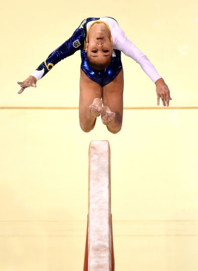Flavia Lopes Saraiva of Brazil competes in the artistic gymnastic women's beam final during the 2015 Pan Am Games at the Toronto Coliseum in Toronto, Canada