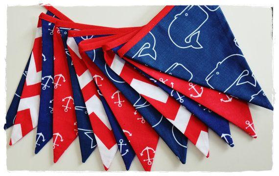 Marine Garland  Nautical- Bunting Banner . Flag Bunting . Pennant Banner . Flag Garland . Party Decoration . Fabric Bunting