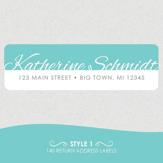 Personalized Return Address Labels // Fancy Name with Color Block by k8inked, $8.50