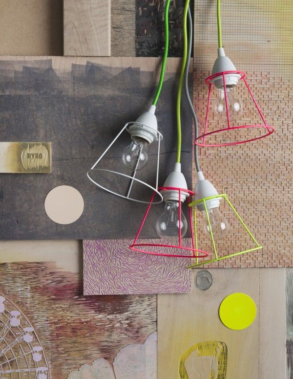 DIY LAMPS FOR KIDS-Neon undressed lampshades and colored cords