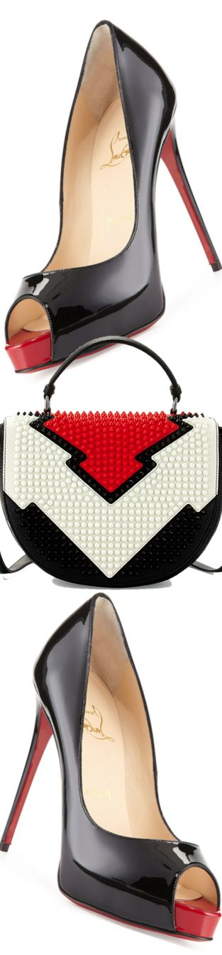 Christian Louboutin ~ Very Prive Patent Red Sole Pump + Panettone Spiked Messenger Bag 2015