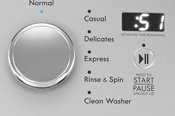 closeup of the control panel of a modern washing machine that says 'express'