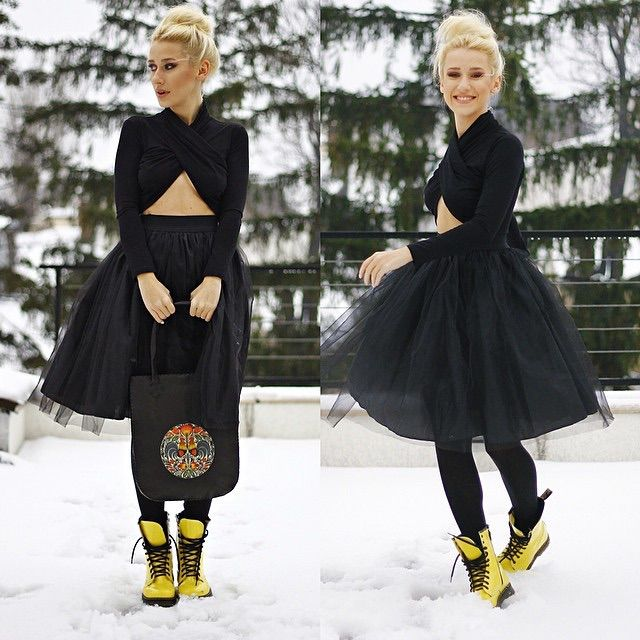 Diva Charms bijuterii de designer, placate cu aur | Black Tulle Skirt