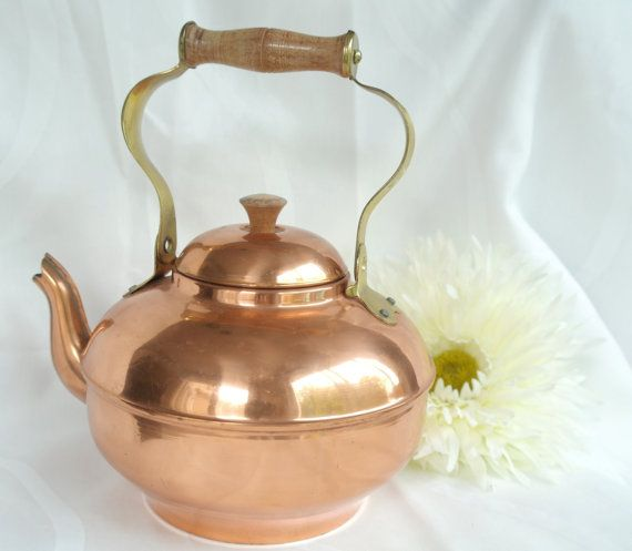 Vintage copper teapot with wooden handle and by TheGarnishRoom