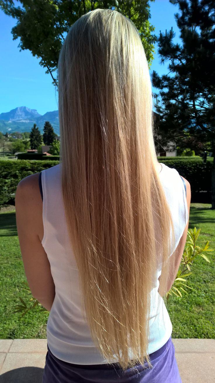 Mèches blondes sur cheveux très longs + shampoing américain (pour sublimer la couleur)