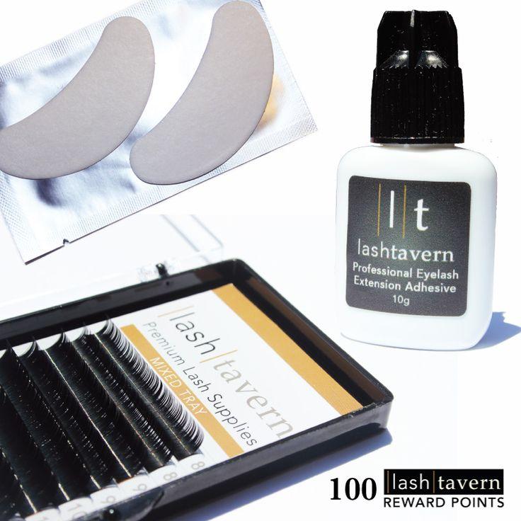 Eyelash extension supplies including adhesive, mixed tray, eye pads and a $5 credit.