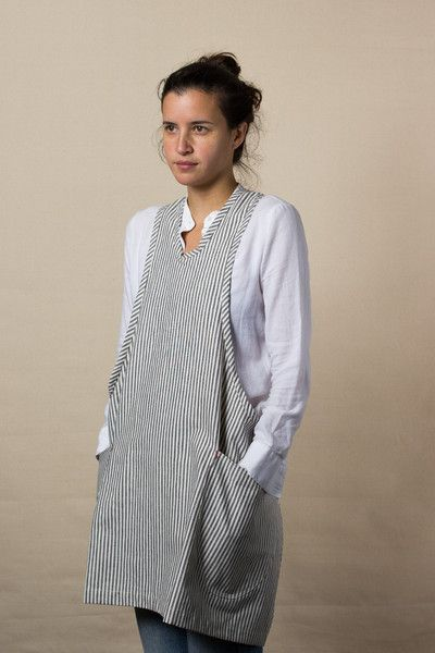 Grey Ticking Modern Apron