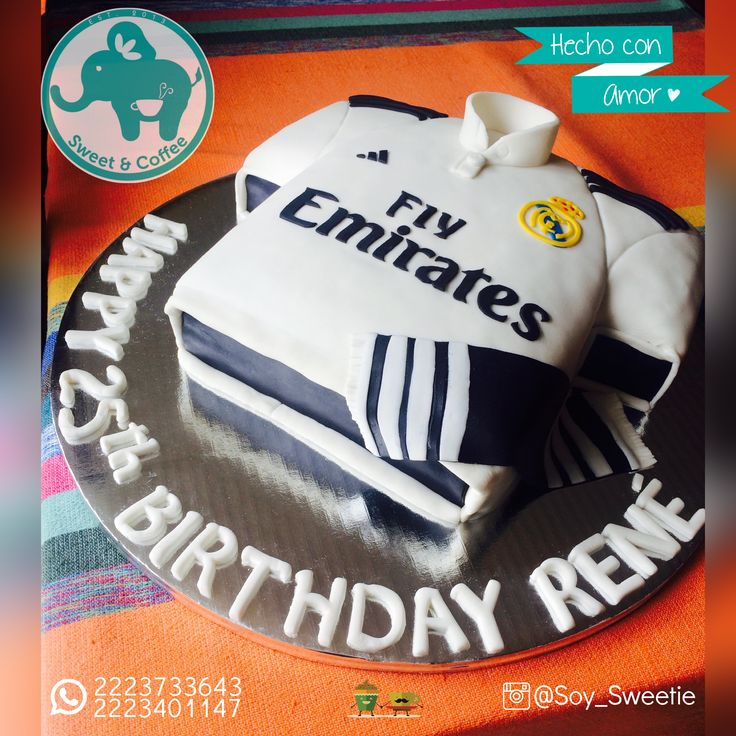 Pastel de Cumpleaños Playera Real Madrid    #RealMadrid #Pasteles #Fondant #Puebla #SweetandCoffee