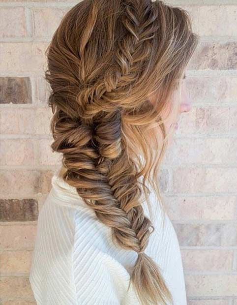Chunky, Side Swept Fishtail Braid Hairstyle