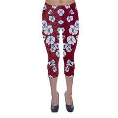 Cvdr0098 Red White Black Flowers Capri Winter Leggings  from CircusValley Mall