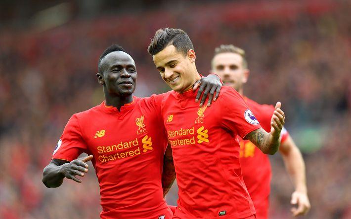 Télécharger fonds d'écran Philippe Coutinho, Sadio Mane, à Liverpool, en Angleterre, Premier League, football