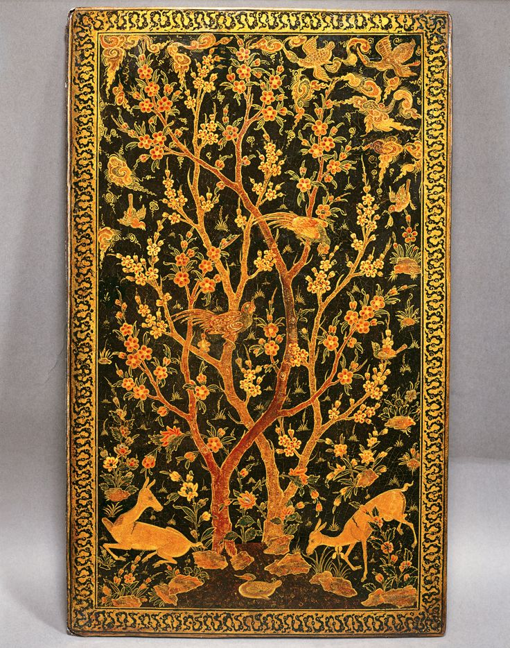 Book Covers Geography Iran Period Safavid, late 16th century CE Dynasty Safavid Materials and technique Lacquer with powdered gold and mother-of-pearl Dimensions 27.7 x 16.7 cm  http://www.akdn.org/museum/detail.asp?artifactid=1236