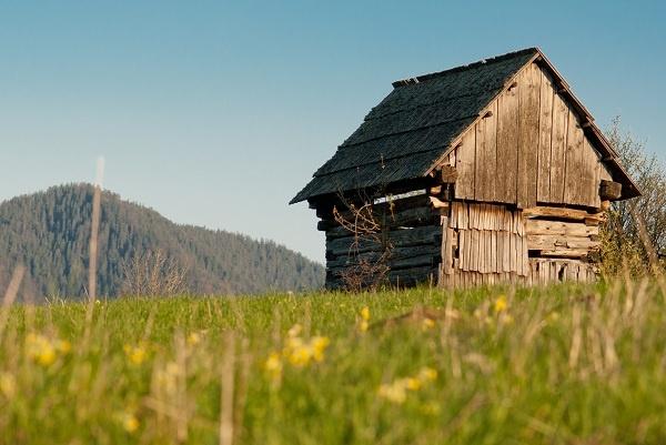 Historical log cottage in Vlkolinec, Slovakia