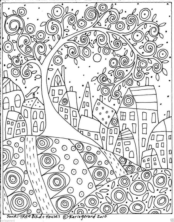 Rug Hook Craft Paper Pattern Swirl Tree Bird And Houses Folk Art