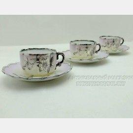 Антикварный кофейный набор, Три кофейных пары, Фарфор в серебряной оплетке, французский фарфор с серебряной инкрустацией