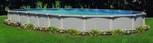 "flowers around an above ground pool   Bermuda 54"" Above Ground Swimming Pool Kit"
