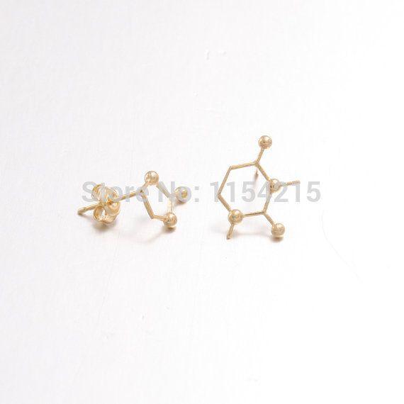 2016 New Arrival Hot Silver Rose Gold Unbalance Caffeine Molecule Structure Women Stud Earrings Chemical Earrings  EY-E078