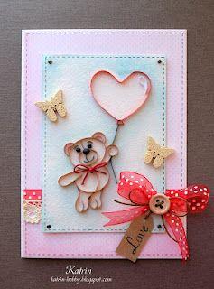 Teddy bear with love card by Katrin