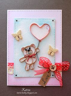 Teddy bear with love card by Katrin
