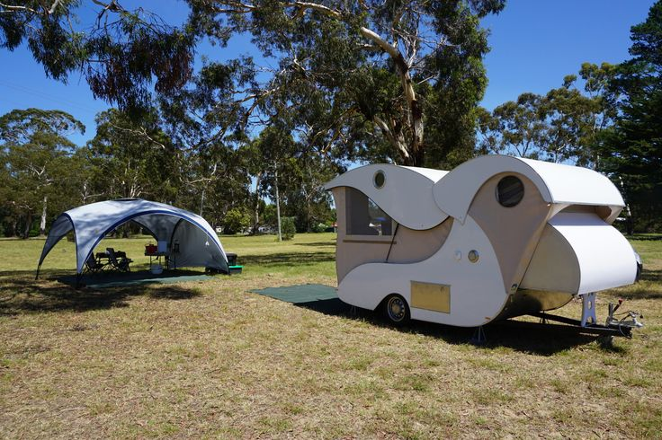 Homemade teardrop camper trailer (design inspired by Kampmaster / Wild Goose teardrop trailer) at Boyd Town, NSW