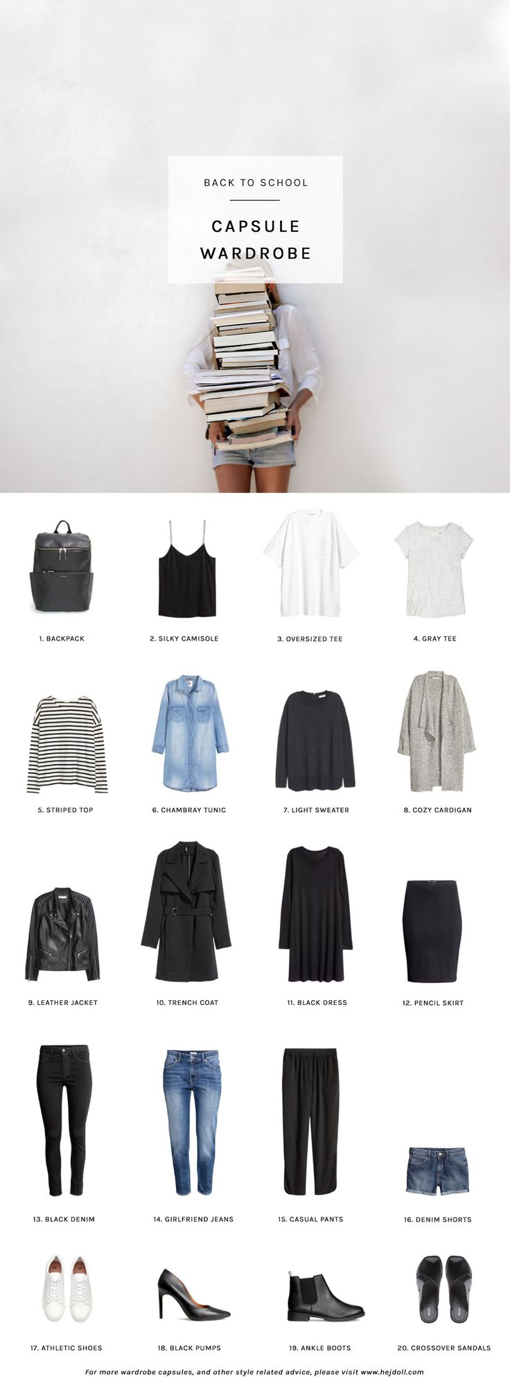 Back to School Capsule Wardrobe - 20 items for perfect back-to-school outfits. http://hejdoll.com/back-school-capsule-wardrobe/?utm_campaign=coschedule&utm_source=pinterest&utm_medium=Jessica%20Doll&utm_content=Back%20to%20School%20Capsule%20Wardrobe
