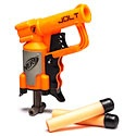 Super small NERF gun with a powerful punch - shoots over 40 feet! thinkgeek.com