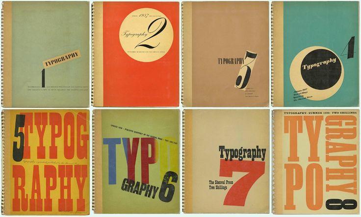 TYPOGRAPHY 1–8: Complete Set of Robert Harling's Progressive Typographic Journal, 1936–39
