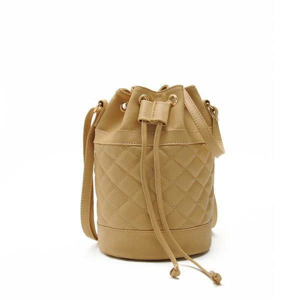 Quilted Women Bucket Bags Drawstring Crossbody Bags Casual Shoulder Bags