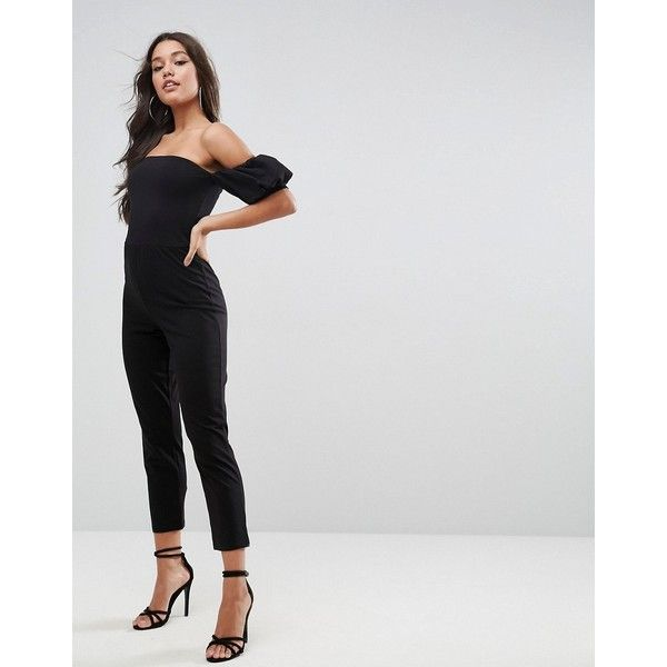 ASOS Jersey Jumpsuit with Puff Sleeve (190 RON) ❤ liked on Polyvore featuring jumpsuits, black, off the shoulder jumpsuit, asos, asos jumpsuit, going out jumpsuits and jersey jumpsuit