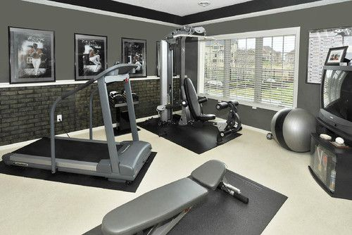 Home Gym Design  -- Soothing gray and beige coloring, nice use of space