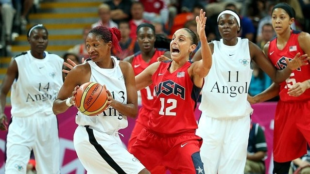 Team USA go up against Angola in the women's Basketball -  http://www.london2012.com/photos/latestpictures.html#  Diana Taurasi of USA defends against Nacissela Mauricio of Angola during the women's Basketball preliminary round match on Day 3 at Basketball Arena