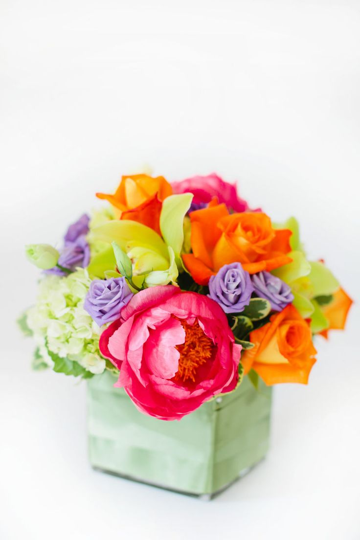 204 best bloompop flowers images on pinterest floral designs bird a colorful mix of orange roses bright pink peonies purple lisianthus and green cymbidium orchids make this vivid arrangement a tropical delight mightylinksfo Gallery
