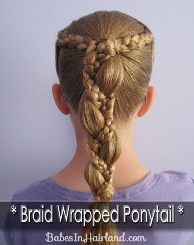 Braid Wrapped PonytailColors Guard Hairstyles, Hair Ideas, Beautiful Hairstyles, Braids Wraps, Wraps Ponytail, Girls Hairstyles, Wraps Ponies, Hair Style, Flower Girls