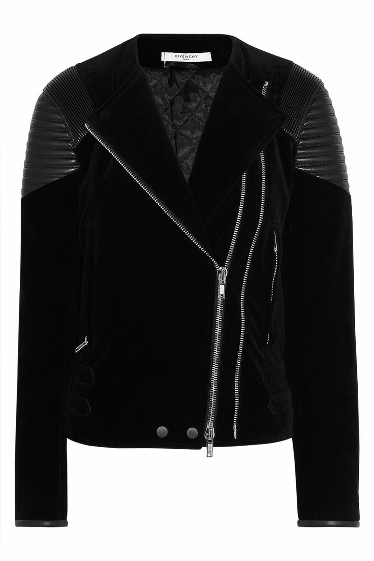 GIVENCHY Black velvet jacket with quilted leather details on the shoulders Was $5,090 Now $3,563 30% OFF