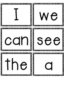 Candid image inside kindergarten sight words flash cards printable