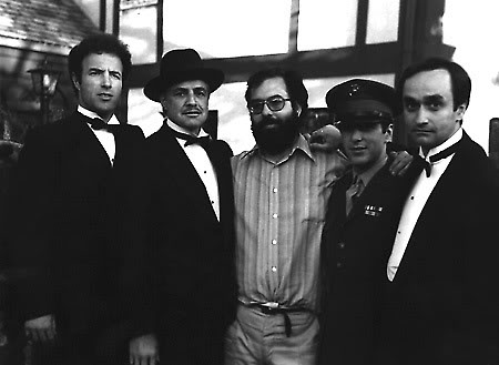 With James Caan, Francis Ford Coppola, Al Pacino and John Cazale on the set of The Godfather.