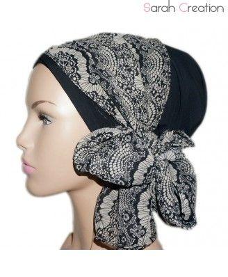 Turban noir voile noir imprimé dentelles chimio cheveux                                                                                                                                                                                 Plus