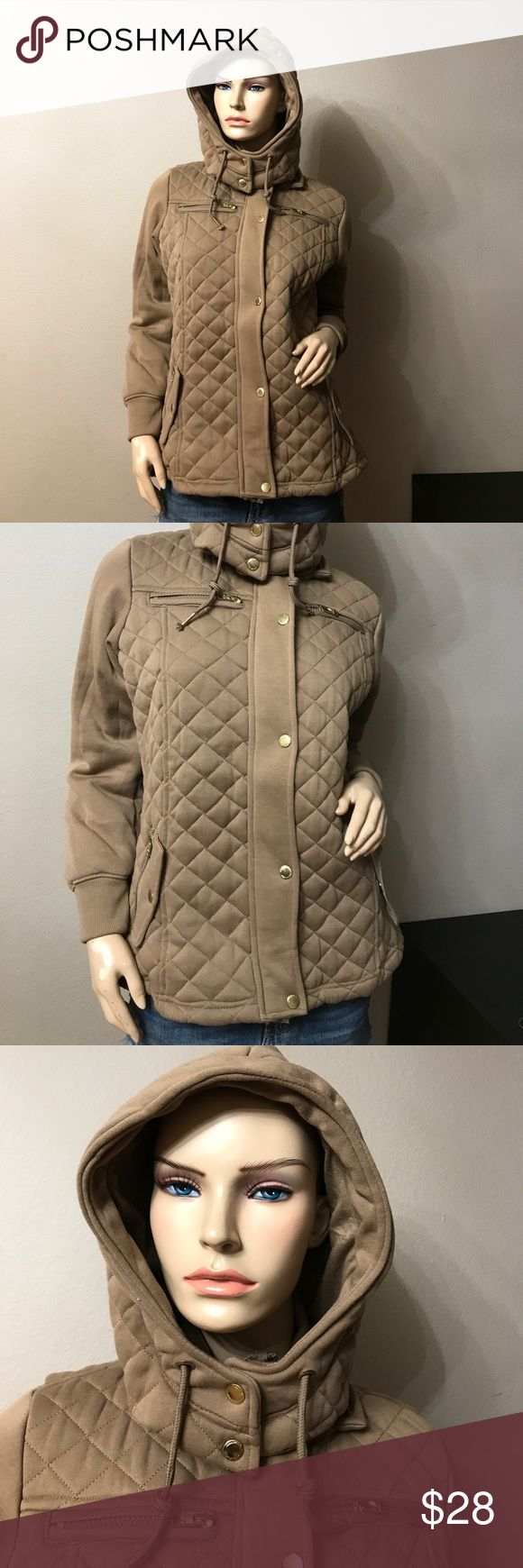 Camel brown zip up jacket with removable hoodie Soft light brown jacket with removable hoodie, zip up and buttons, with pockets. Says Large fits s/m Roosevelt American College Jackets & Coats
