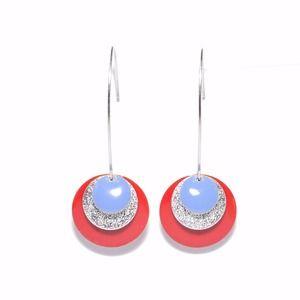 Boucles d'oreille dormeuses sequins émaillés rouges, bleu jean et argentés pailletés