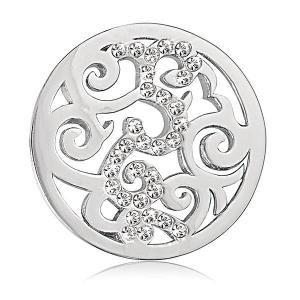 Nikki Lissoni Silver-tone 1 Inch Clear Swarovski Element Baroque Coin