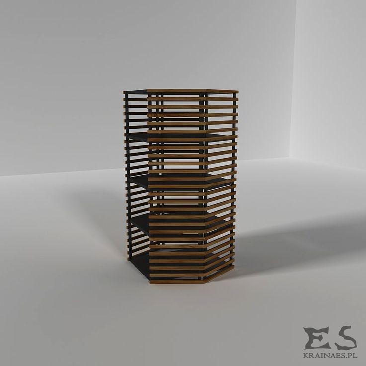 Industrial shelve with wooden sticks, bookstand, metal, iron, regał, Sweeney, Kraina ES #shelve, #minimalistshelve, #minimalistfurniture, #regał, #szafka