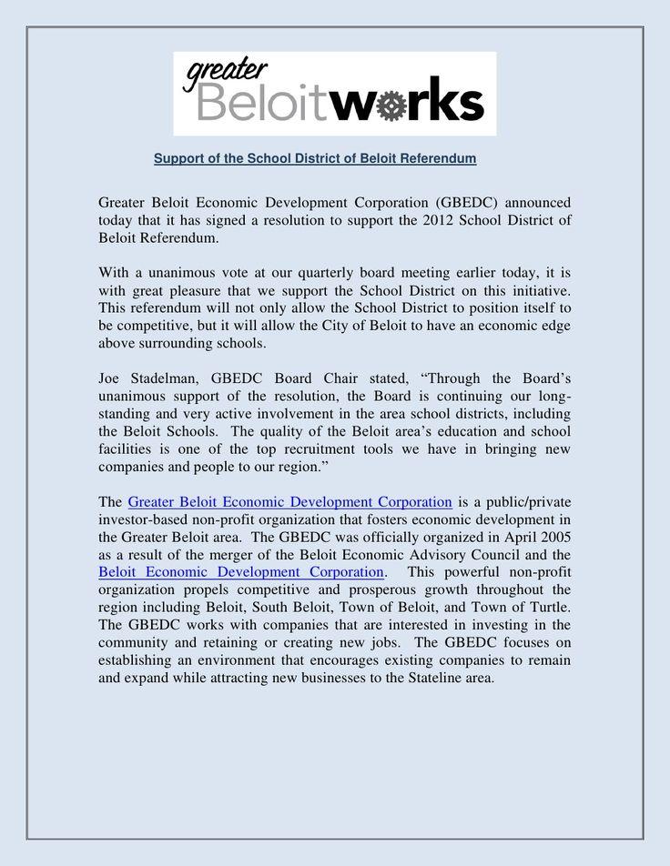 support-of-the-school-district-of-beloit-referendum by Greater Beloit Economic Development Corporation via Slideshare