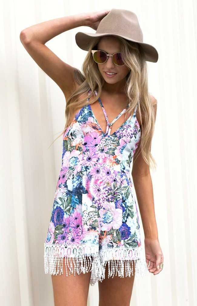 Fringed Floral Playsuit - $79.00 - Australia Fashion Online